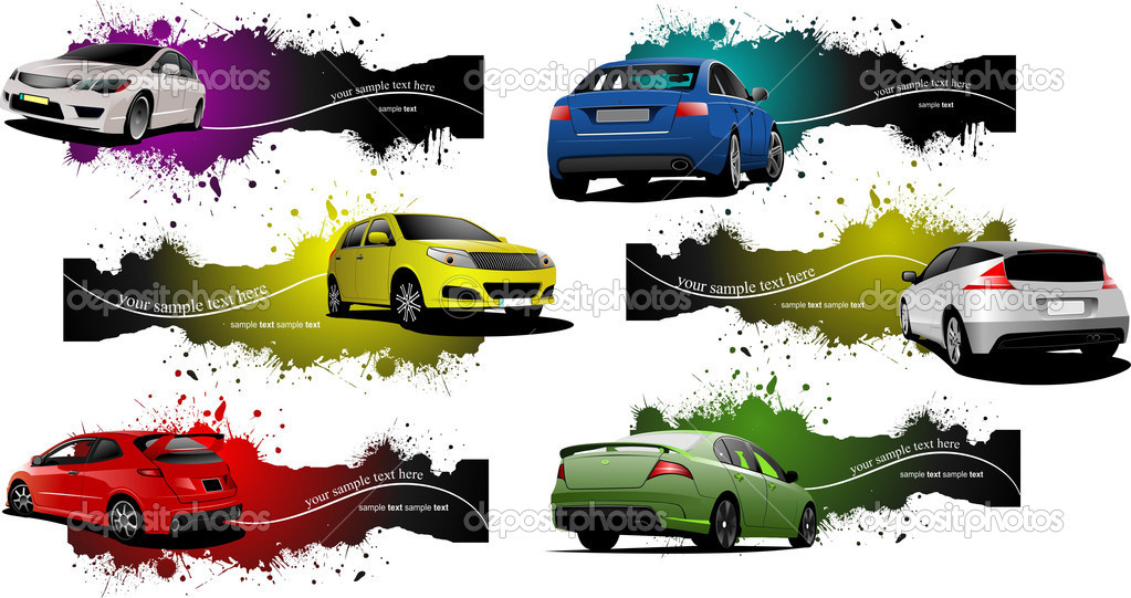 Six grunge Banners with cars. Vector illustration