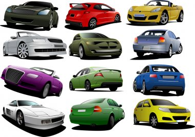 Set of 12 cars on the road. Vector illustration