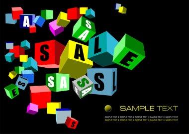 Black sale banner, Vector illustration
