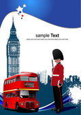 Photo Cover for brochure with London images. Vector illustration