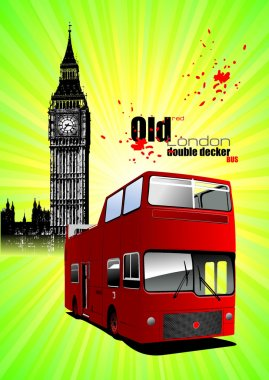Poster with tour double Decker bus. Vector illustration
