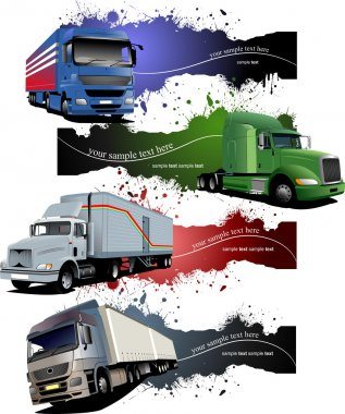 Four grunge Banners with colored trucks. Vector illustration