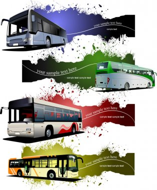 Four grunge Banners with city buses. Vector illustration