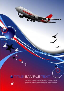 Aircraft poster with passenger airplane image. Vector illustration stock vector