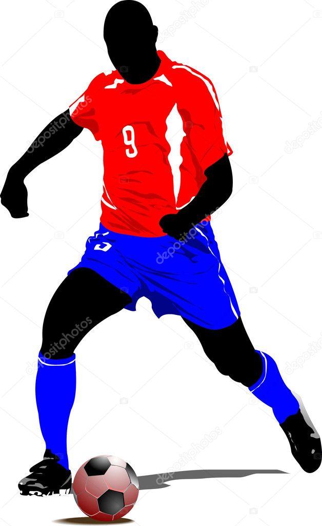 jugador de fútbol. Ilustración de vector color para diseñadores ...