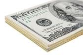 confezione di denaro americano sul bianco