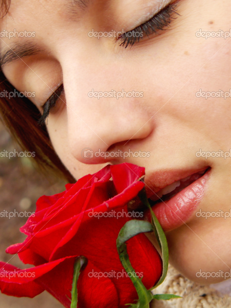 Red rose and girl