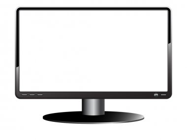 Computer Monitor with blank white screen. Isolated on white back