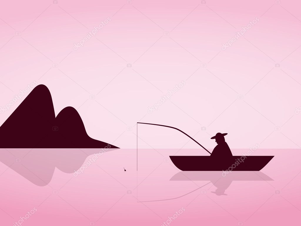 Lonely angler are fishing on a beautiful pink morning