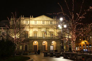 La Scala opera house in night. Milan, Italy