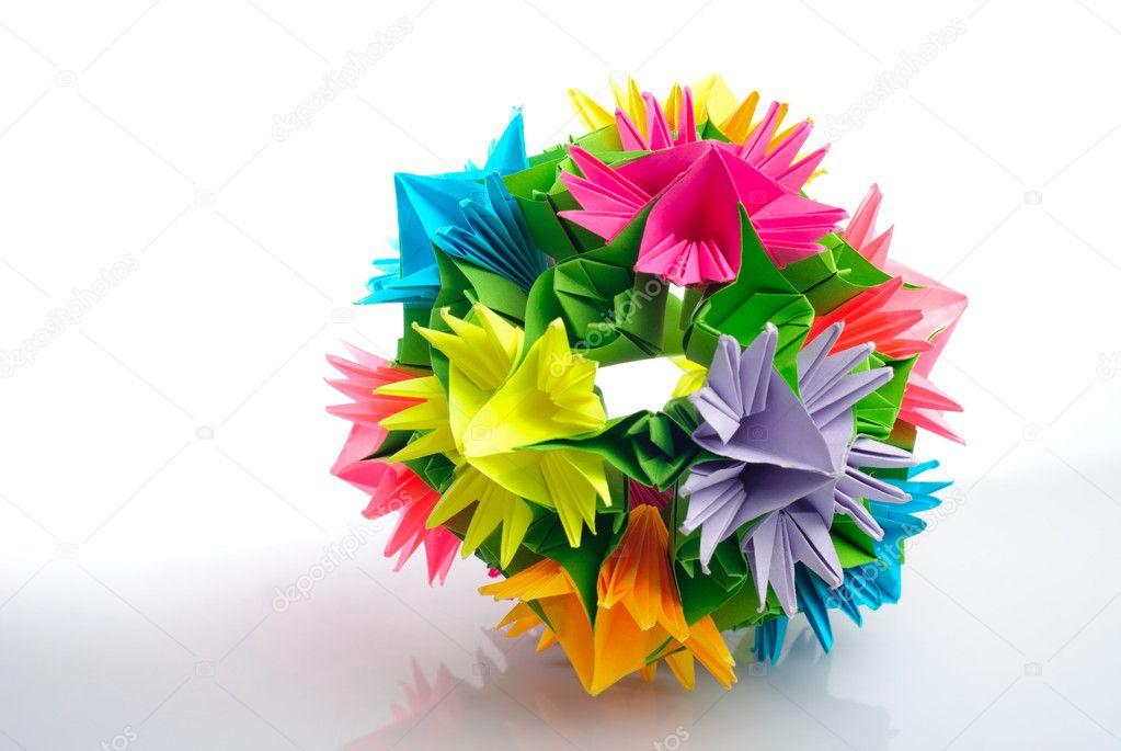 Origami kusudama flower stock photo oksixx 4032065 colorfull origami kusudama from rainbow flowers isolated on white photo by oksixx mightylinksfo Gallery