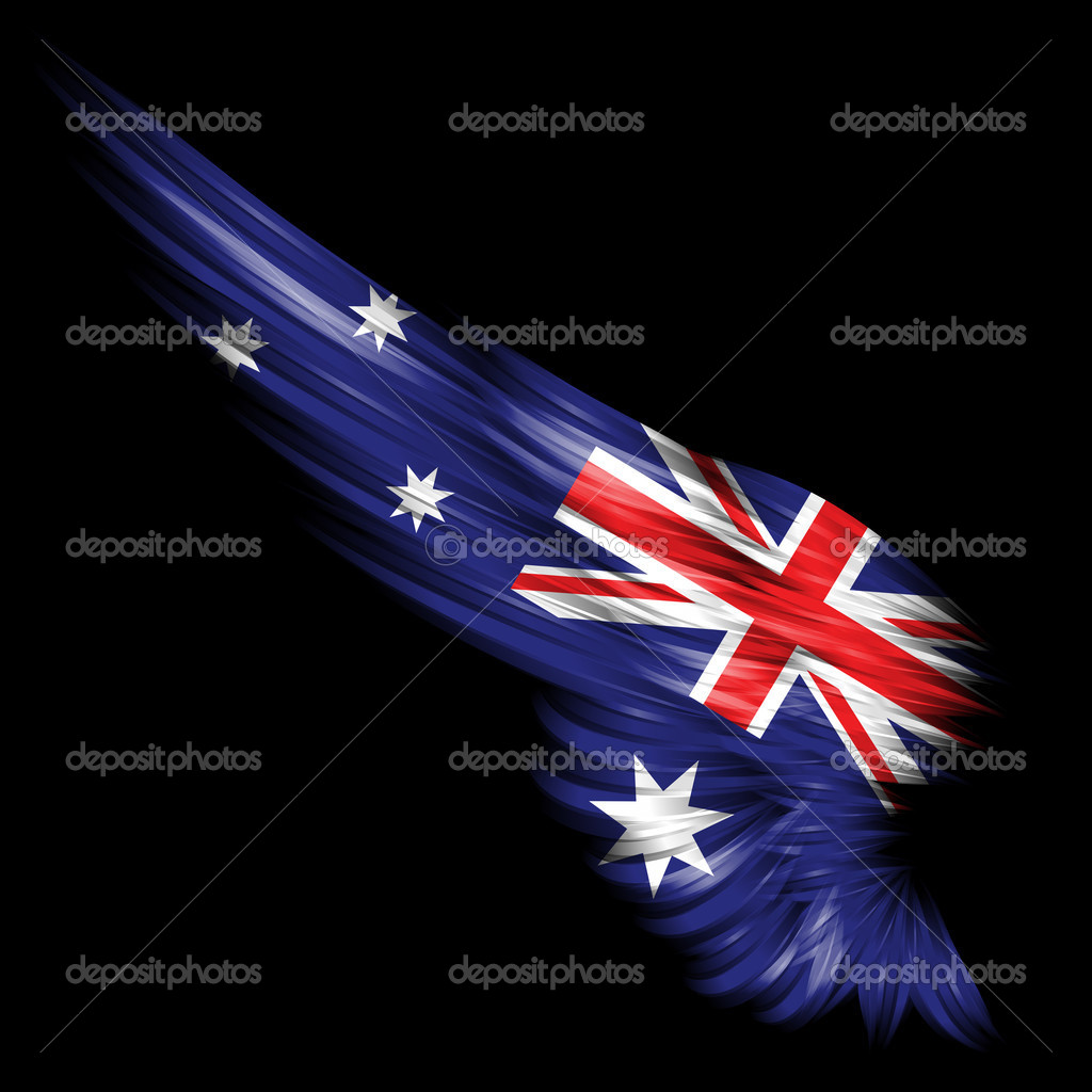 abstract wing with australia flag on black background u2014 stock