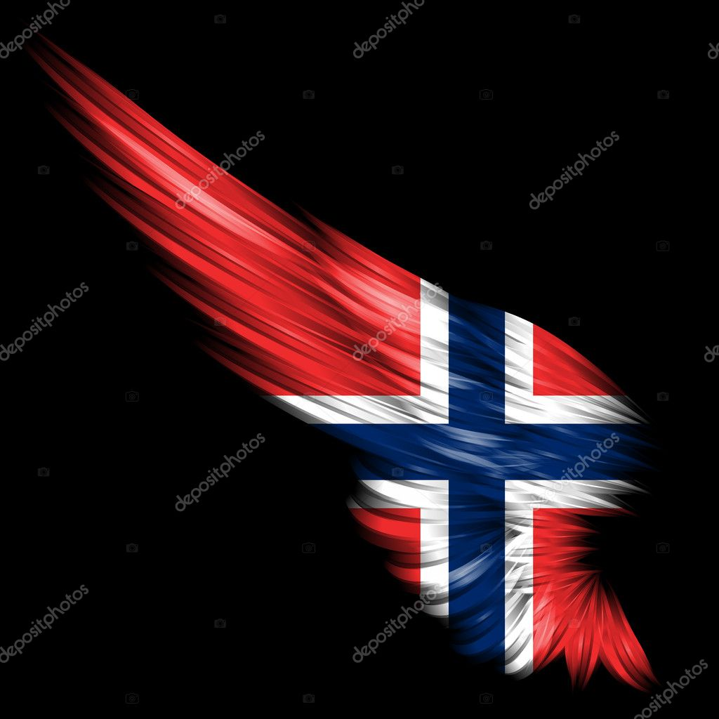 abstract wing with norway flag on black background u2014 stock photo