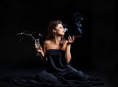 Glamour women with champagne