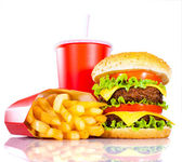 Photo Tasty hamburger and french fries