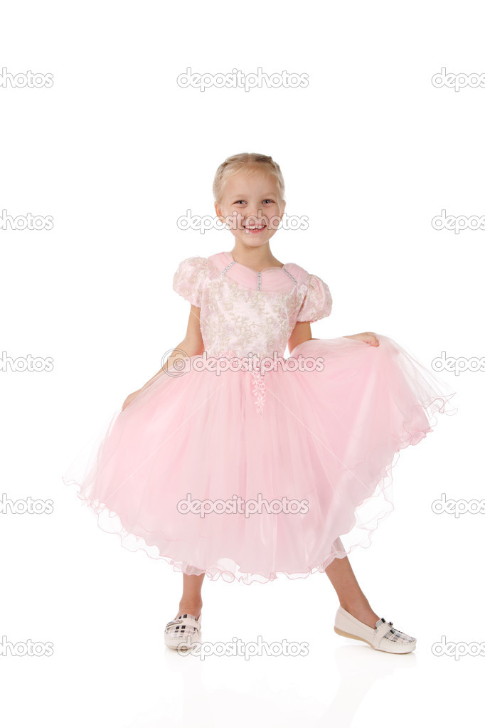 pretty nice 659da f4584 Bambina in un elegante abito rosa. — Foto Stock © Lenorlux ...