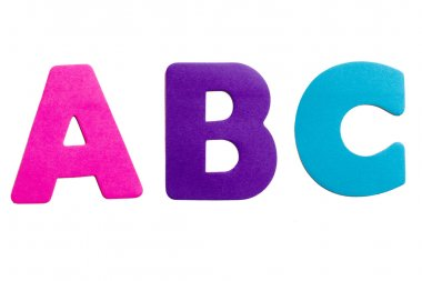 A set of alphabet letters in the form of stickers on a white background.