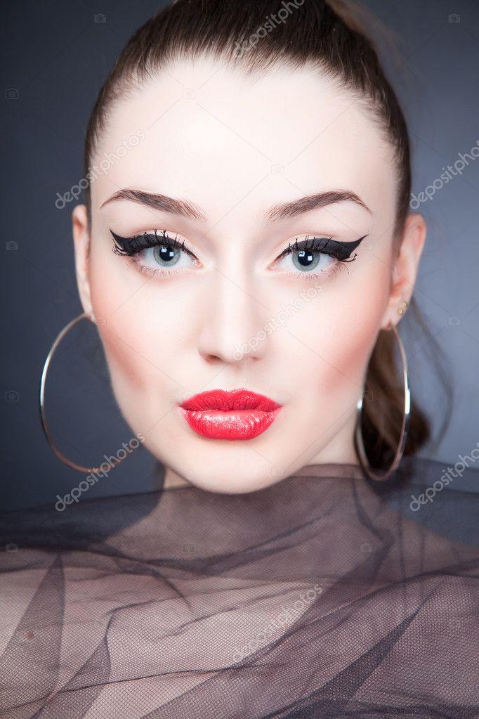 Beautiful portrait of girl with stylish make up