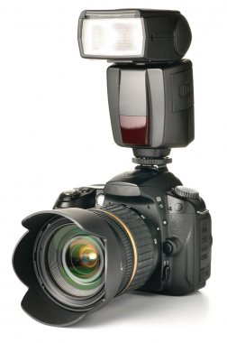 Photo camera with an external flash attached