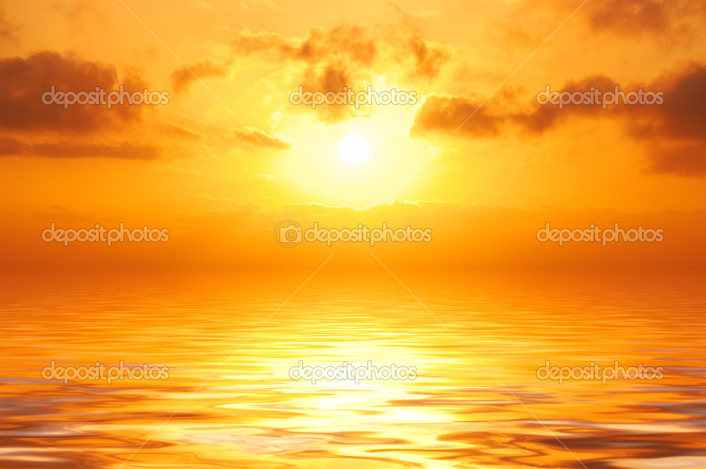 Orange sunset in sea
