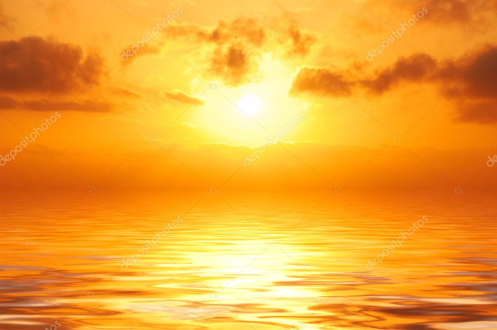 Orange sunset in sea