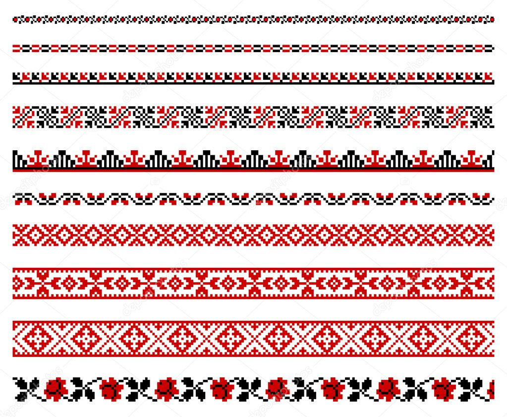 Vector illustrations of ukrainian embroidery ornaments, patterns, frames and borders. clipart vector