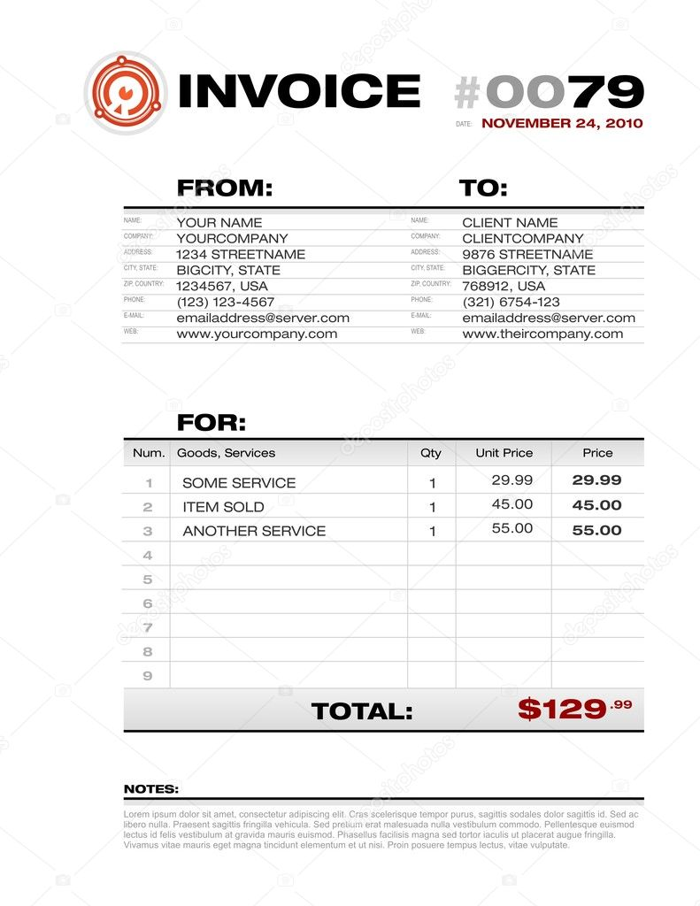Invoice Template   Editable Vector U2014 Stock Vector  Invoice Template Editable