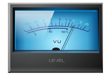 Analog VU Meter Blue, detailed vector stock vector