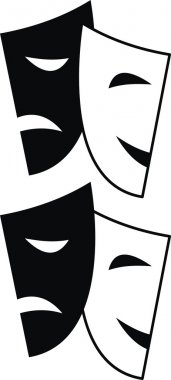 Vector set of theatrical masks - Tragedy and Comedy