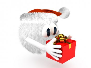 Cartoon character with present