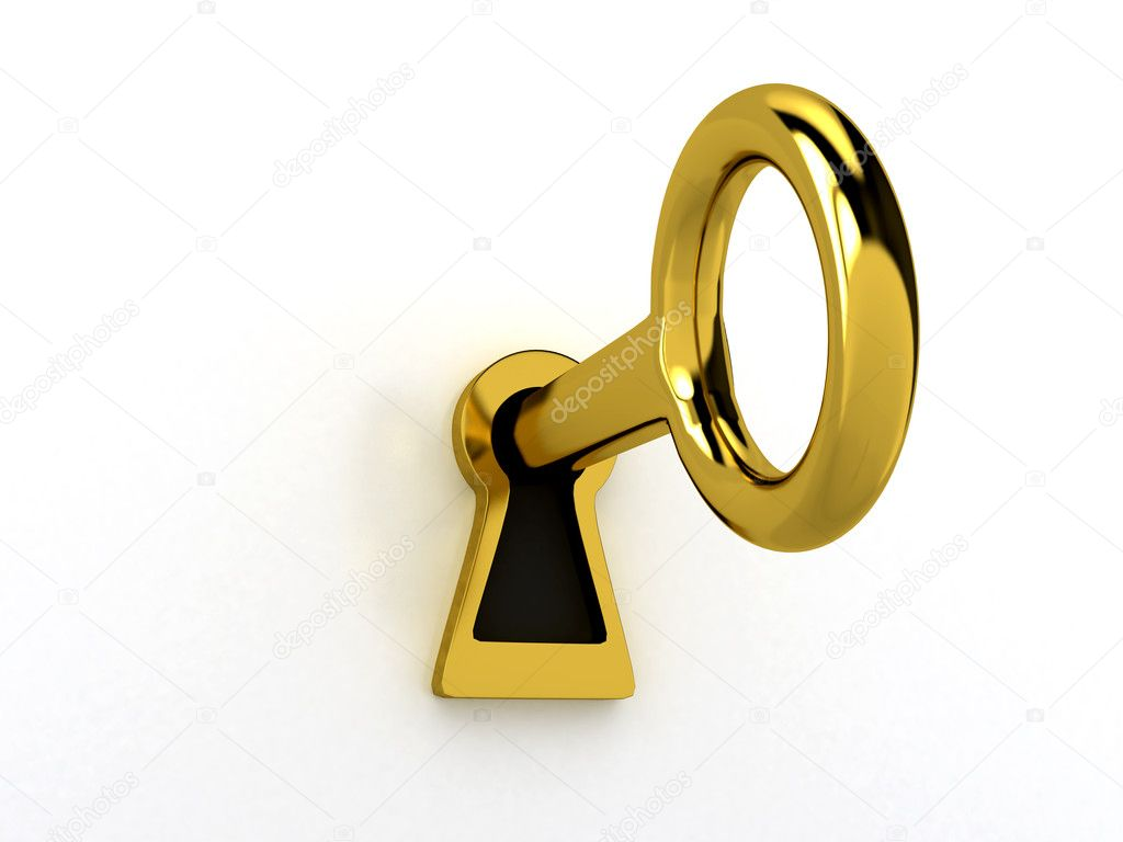 gold keyhole clipart - 1000×750