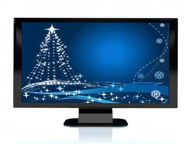 3d rendered TV with Cristmas image