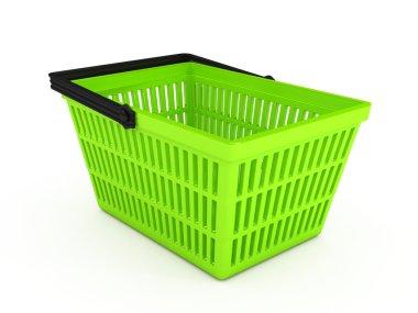 Shopping basket over white background