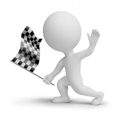 3d small whitch a checkered flag