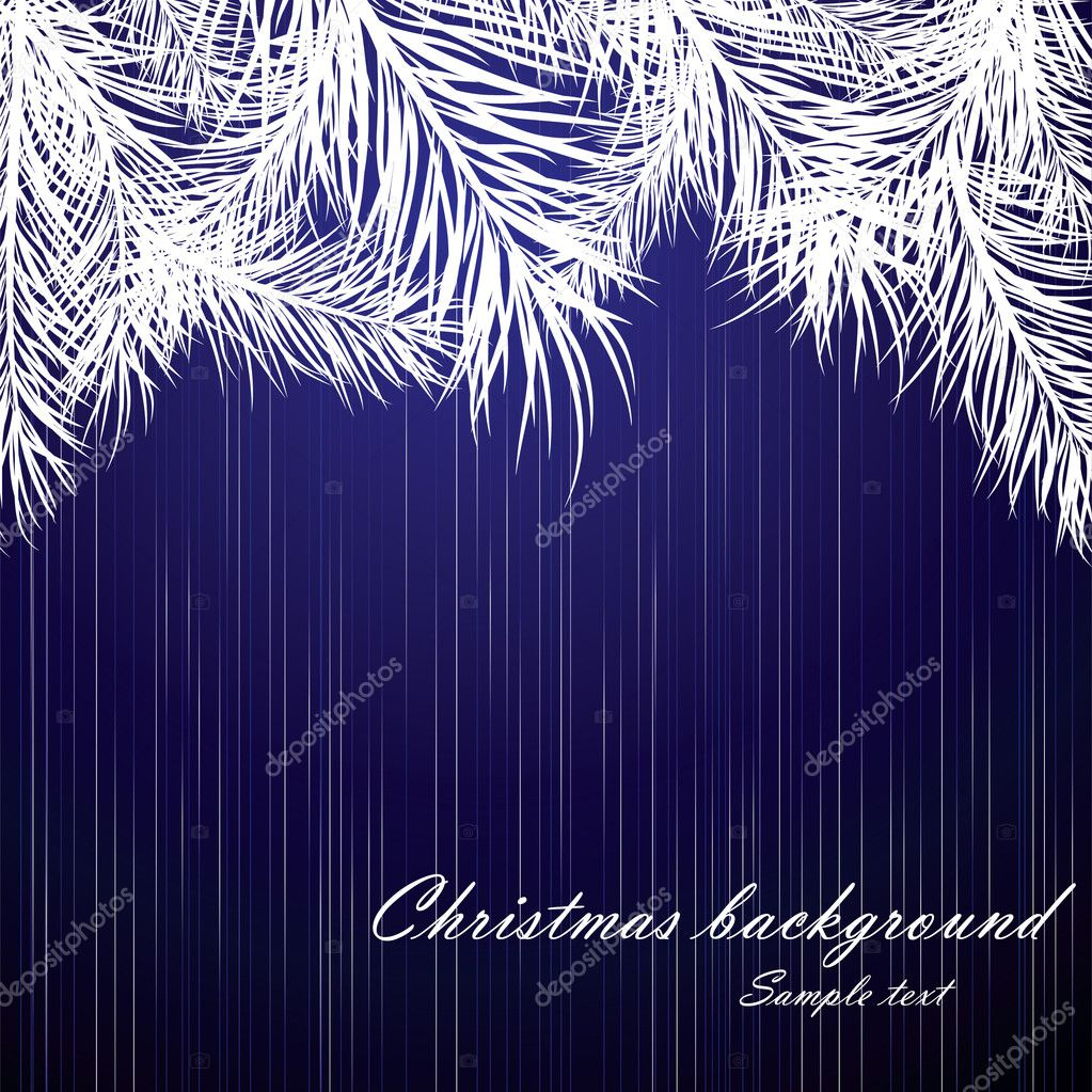 Blue Christmas background with fur-tree branches