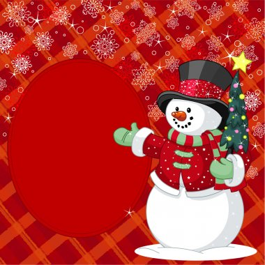 Snowman with Christmas tree place card