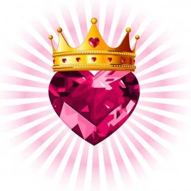 Shiny crystal love heart with princess crown design clip art vector