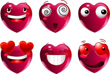Set of heart shape emoticons