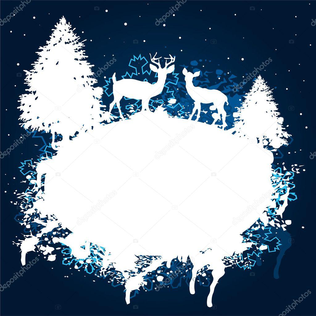 Winter forest grunge paint design