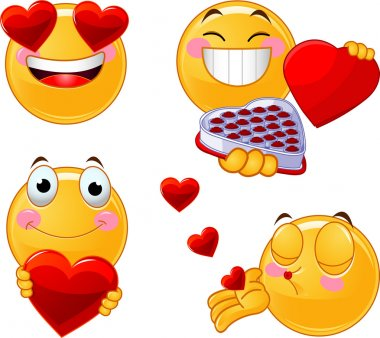 Set of characters of yellow emoticons with different faces, eyes, mouth for Valentine Day