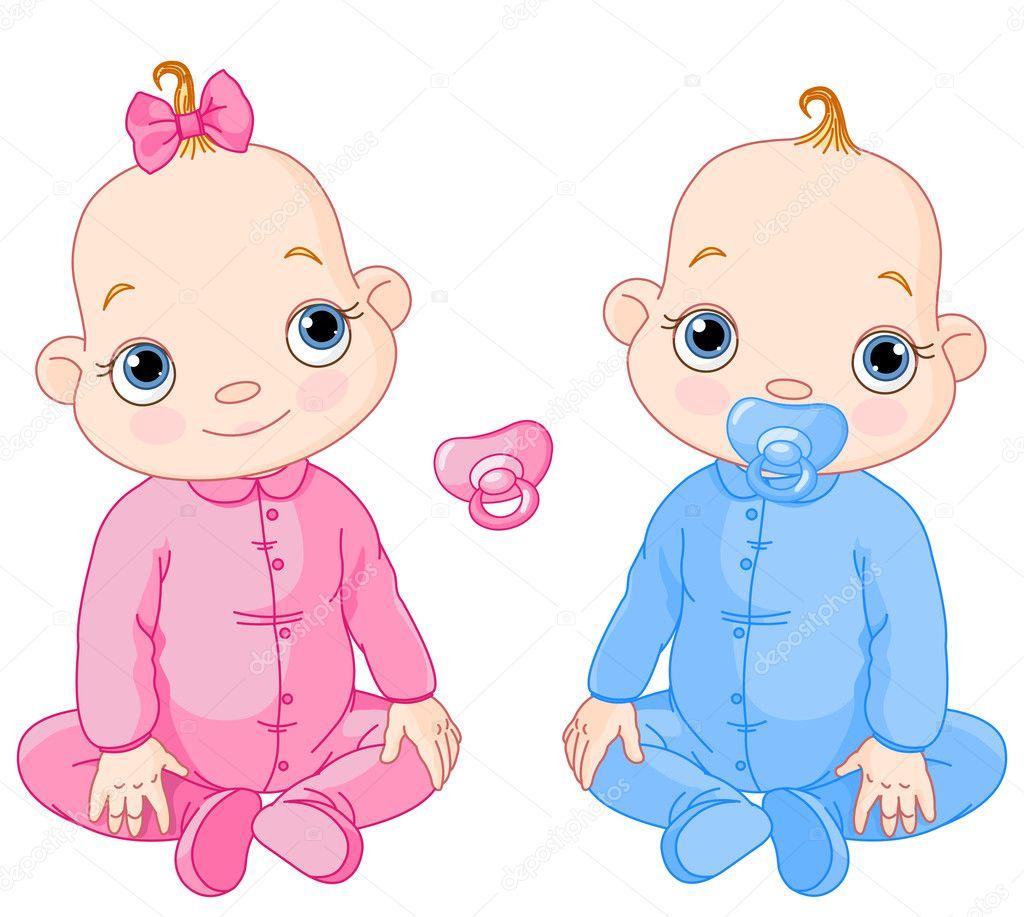 かわいい座っている双子 — ストックベクター © dazdraperma #4630701