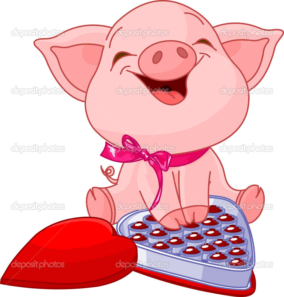 Cute Pretty Pig At Valentines Day With Chocolates Vector By Dazdraperma