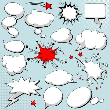 Comics style speech bubbles / balloons on background stock vector