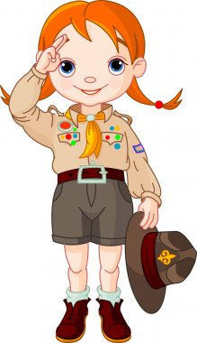 Boy scout girl doing a hand sign