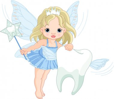 Cute Tooth Fairy flying with Tooth