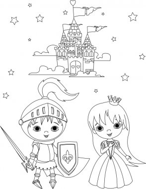Medieval knight and princess coloring page