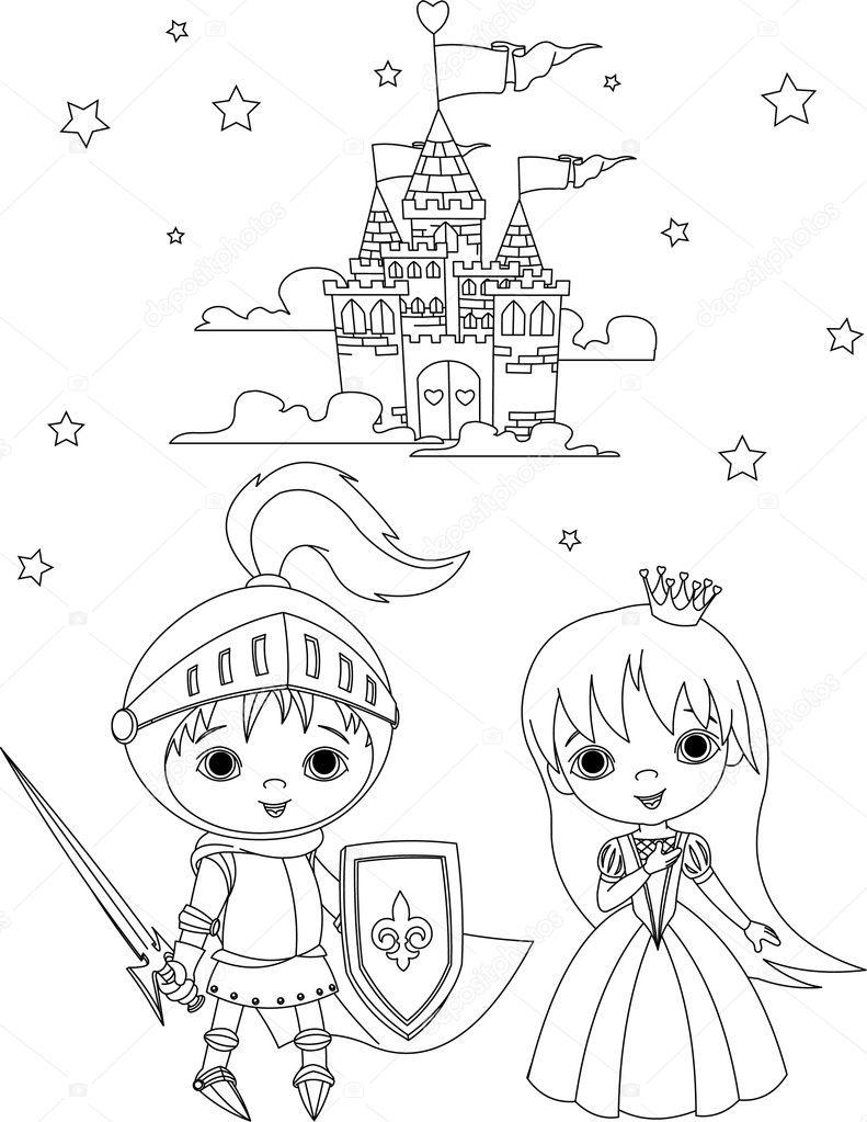 Middeleeuwse Ridder En Prinses Kleurplaat Stockvector