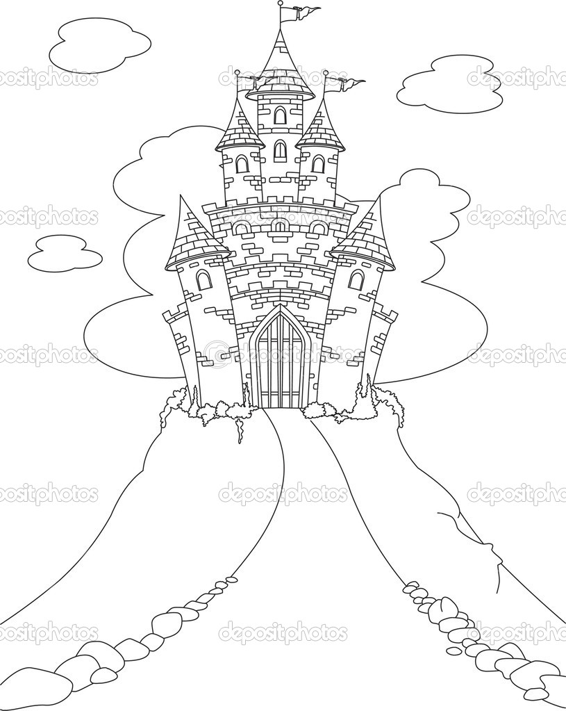 Coloring Page With Magic Fairy Tale Princess Castle Vector By Dazd Rma
