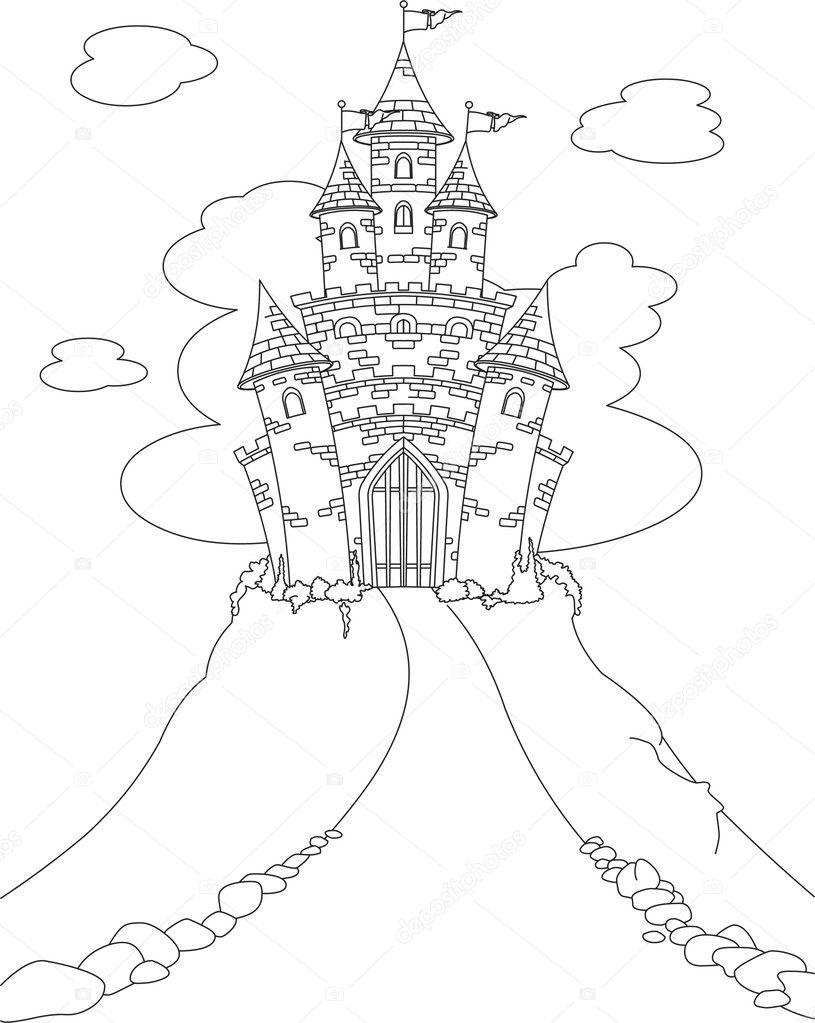 Magische Kasteel Kleurplaat Stockvector C Dazdraperma 5173940