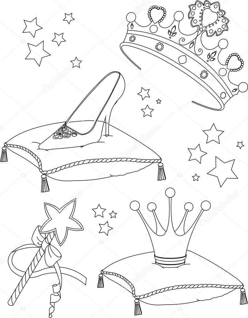Página para colorear de princesa collectibles — Vector de stock ...